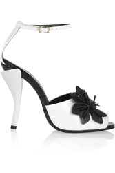Fendi Flower Appliqued Patent Leather Sandals White