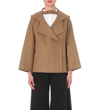 Valentino Boxy Wool Blend Trench Coat Camel