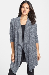 Barefoot Dreams 'Bamboo Chic' Drape Front Cardigan Nordstrom Exclusive Midnight White Heather