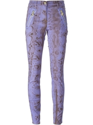 Versace Snakeskin Effect Skinny Trousers Pink And Purple