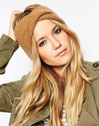 Asos Mohair Mix Twist Front Headband Camel