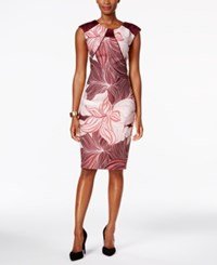 Sangria Satin Trim Printed Sheath Dress Maroon Ivory