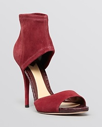 B Brian Atwood Open Toe Sandals Correns High Heel Crimson Red