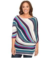 Christin Michaels Plus Size Mika 3 4 Sleeve Striped Dress Multi Women's Dress