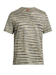 Missoni Striped Crew Neck Cotton T Shirt Black Multi
