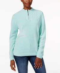 Alfred Dunner Zippered Mock Neck Sweater Mint