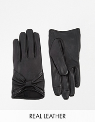 Asos Leather Gloves With Bow And Touch Screen Detail Black