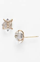Melissa Joy Manning Stone Prong Stud Earrings Herkimer Diamond Yellow Gold