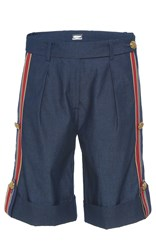 Alexis Mabille Bayadere Striped Chambray Shorts Blue