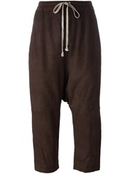 Rick Owens Drop Crotch Cropped Trousers Brown
