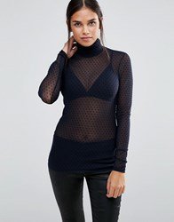 Y.A.S Dotto Roll Neck Sheer Long Sleeved Top Night Sky Black