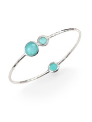 Ippolita Stella Turquoise Mother Of Pearl Diamond And Sterling Silver Doublet Station Bangle Bracelet Silver Blue