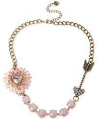 Betsey Johnson Gold Tone Woven Pink Beaded Heart Frontal Necklace