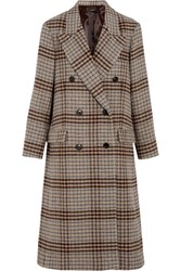 Isabel Marant Flint Double Breasted Plaid Wool Coat Beige