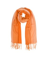 Mila Schon Cashmere And Wool Fringed Stole Coral Orange