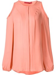 Tamara Mellon Cut Out Shoulder Blouse Pink And Purple