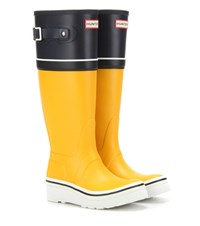 Hunter Original Tall Buoy Stripe Wedge Rubber Boots Yellow