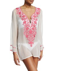 Ella Moss Stella Embroidered Short Tunic Coverup Purple
