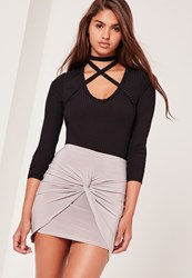 Missguided Slinky Knot Front Mini Skirt Silver Grey