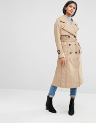 Asos Midi Mac With Oversized Collar And Stitch Detail Stone