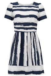 Almost Famous Abstract Stripe Dress Navy