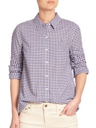 Vineyard Vines Cotton Gingham Button Front Shirt Deep Bay Rhododendron