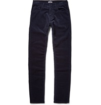 Tomas Maier Slim Fit Brushed Cotton Corduroy Trousers Blue