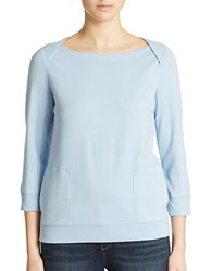 Lord And Taylor Plus Lounge Top Chambray Blue