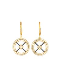 Freida Rothman Pave Caged Mother Of Pearl Drop Earrings No Color