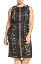 Adrianna Papell Plus Size Women's Adriannal Stripe Embroidered Lace Sheath Dress
