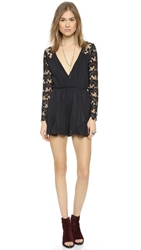 Reverse Flower Power Romper Black