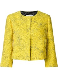 Dorothee Schumacher Cropped Jacquard Jacket Yellow And Orange