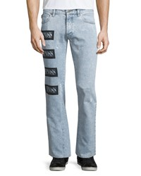 Moschino Straight Leg Hypnosis Patch Jeans Light Denim Women's Lt Denim