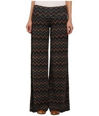 Stetson Chevron Print Knit Pants Brown Women's Casual Pants