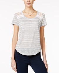 Maison Jules Striped Lace Inset T Shirt Only At Macy's Heather Grey Combo