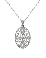 Lord And Taylor Oval Filigree Pendant Necklace Silver