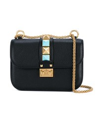 Valentino Small Lock Shoulder Bag Black Turquoise