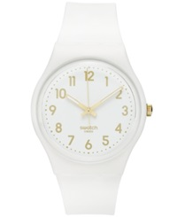 Swatch Watch Unisex Swiss White Bishop White Silicone Strap 41Mm Gw164