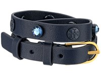 Tory Burch Crystal Beaded Double Wrap Bracelet Navy Gold Bracelet Blue