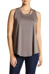 Madison And Berkeley Cutout Neck Trapeze Tank Gray