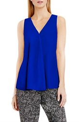 Vince Camuto Women's Drape Front V Neck Sleeveless Blouse Cobalt Blue