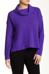 Eileen Fisher Yak And Merino Cowl Neck Sweater Purple