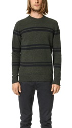 Ben Sherman Striped Crew Sweater Evergreen Marl