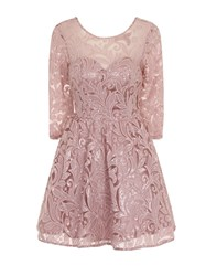 Chi Chi London Sequin Lace Skater Party Dress Pink