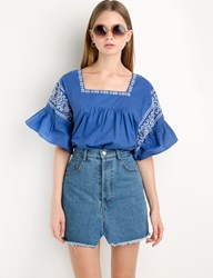 Pixie Market Blue Embroidery Ruffled Sleeve Top