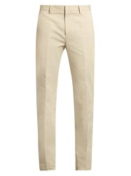 Calvin Klein Exact Slim Fit Cotton And Linen Blend Trousers Beige