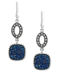 Genevieve And Grace Sterling Silver Earrings Blue Druzy And Marcasite Drop Earrings