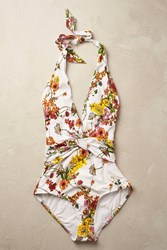 Anthropologie Chevron Plunge Swimsuit Pink