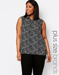 Koko Plus Sleeveless Shirt In Scratch Print Black White