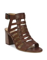 Tahari Avid Leather Cage Sandals Brown